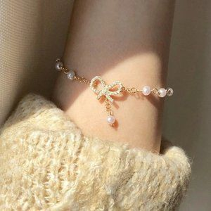 *NEW Yellow Gold Diamond Bow Knot Pearl Bracelet